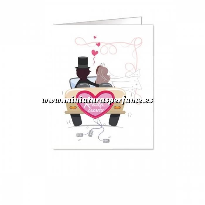 Imagen Etiquetas sin impresión Lámina con 18 Etiquetas con diseño de BODA: Coche con latas alejándose (Recién Casados) - Para personalizar a mano (Últimas unidades)